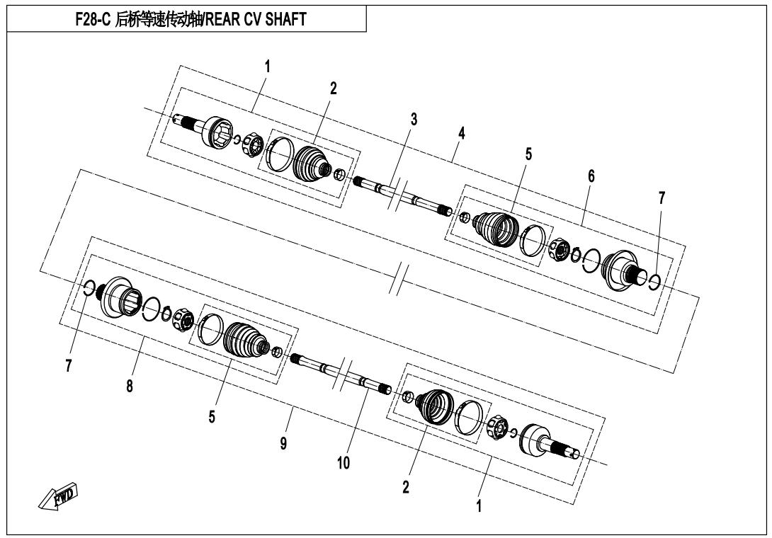 2015 Atv Cf500au 6l Cfmotoparts Cv Joint Diagram Rear Shaftqc